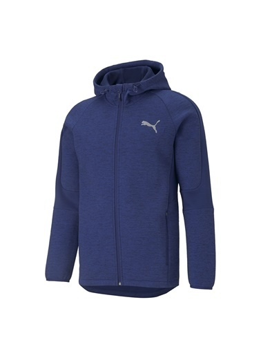 Puma Puma Erkek Mavi Fermuarlı Kapüşonlu Sweatshirt Mavi